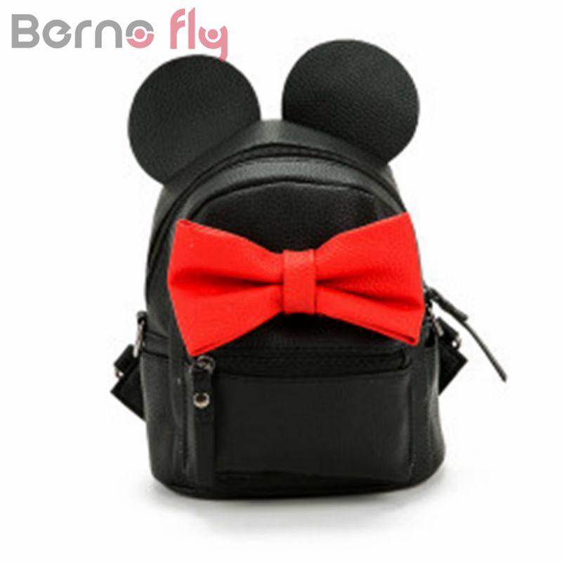 Berno Fly 2017 mini backpack female bag quality pu leather women backpacks Korean version of Mickey ears sweet bow College Wind
