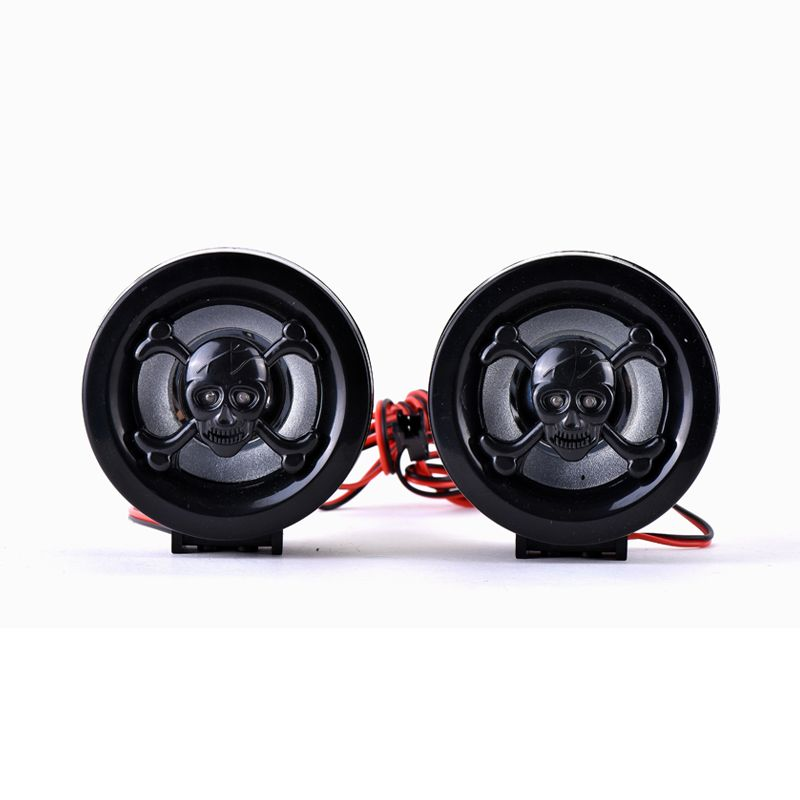 Hot Motorcycle Handlebar Bar Audio FM Radio System Amplifier Sound Speaker MP3 Black Skull Anti-theft