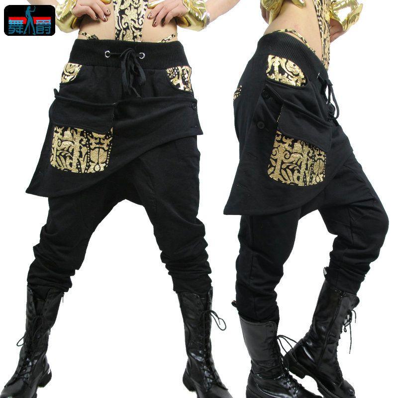 Adulte enfants femmes pantalons de survêtement costume porter grand entrejambe bronze pantalon crayon pantalon Mandarin or argent Hip hop harem pantalon de danse