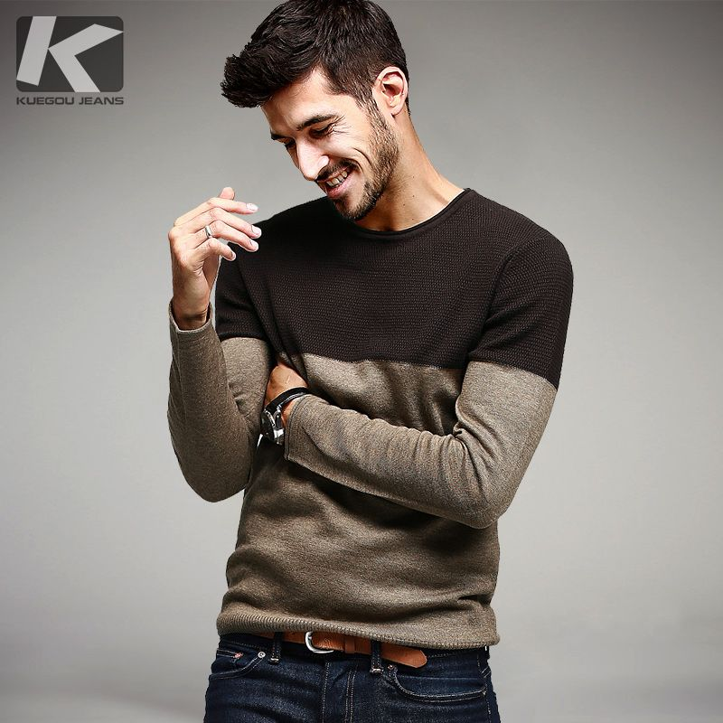 KUEGOU Autumn Mens Sweaters Patchwork Khaki Knitted Brand Clothing For Man's Slim Knitwear Pullovers Male Knitting Clothes 15838