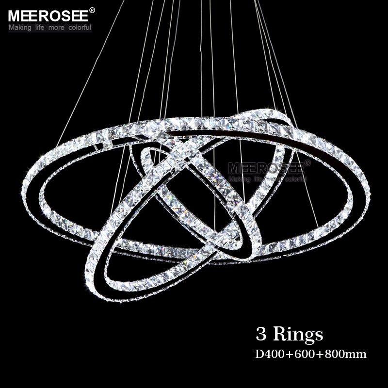 Modern Chrome Chandelier Crystals Diamond Ring LED Lamp Stainless Steel Hanging Light Fixtures Adjustable Cristal LED Lustre