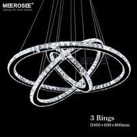 Candelabro cromado moderno cristales diamante anillo LED lámpara colgante de acero inoxidable accesorios de luz LED Cristal ajustable Lustre