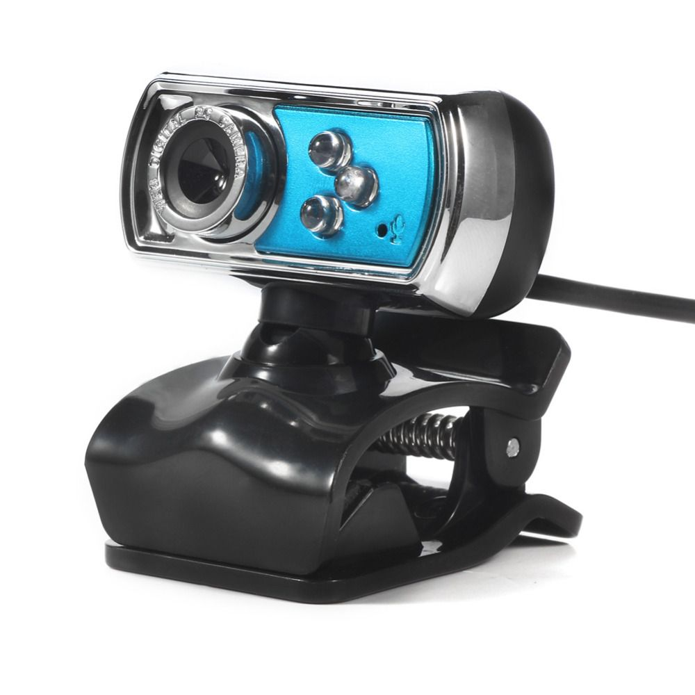 High Quality HD Web Camera 12M Chip and Lens Clarity 3 LED USB Webcam Camera with Mic & Night Vision for PC Laptop  Blue