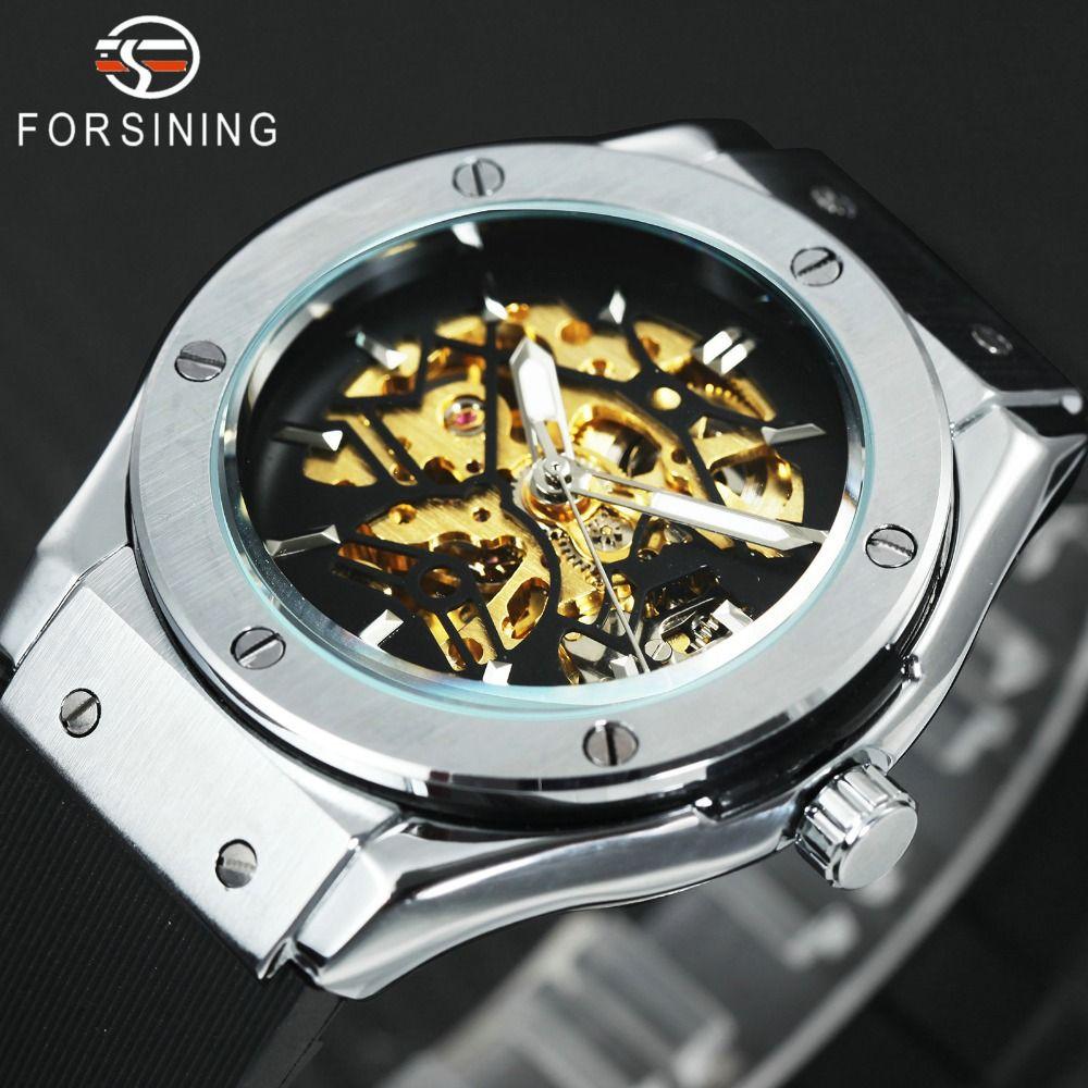 WINNER Men Military Watches 2018 Fashion Auto Mechanical Wristwatch Rubber Strap Skeleton Stainless-steel Case reloj hombre+ BOX