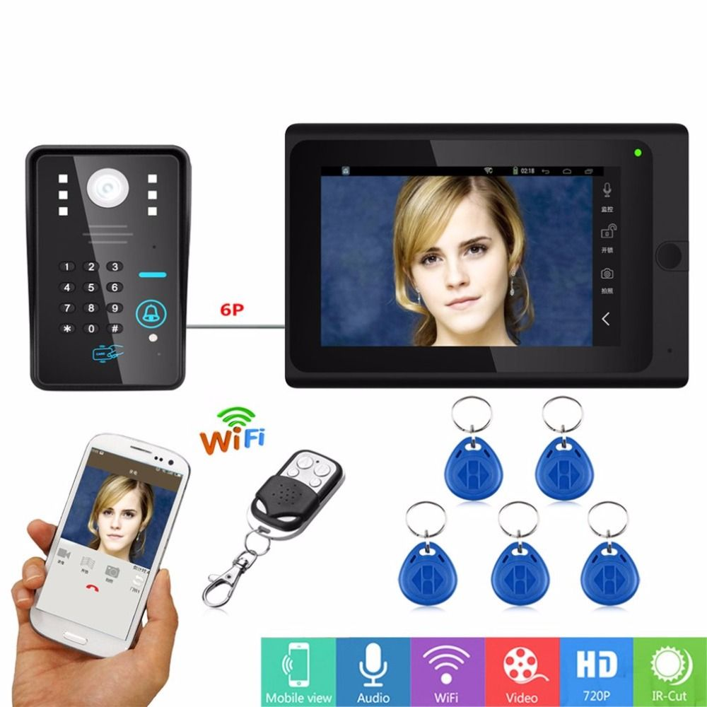 Mulitfunction 7 inch HD Wired Wifi RFID Password Video Intercom Doorbell Entry System Camera Night Vision Remote APP Unlocking
