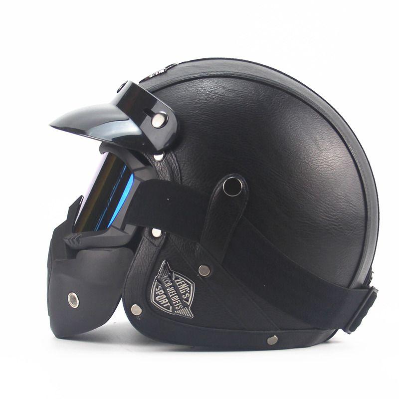Leather Harley Helmets 3/4 Motorcycle Chopper Bike helmet open <font><b>face</b></font> vintage motorcycle helmet with goggle mask motocross