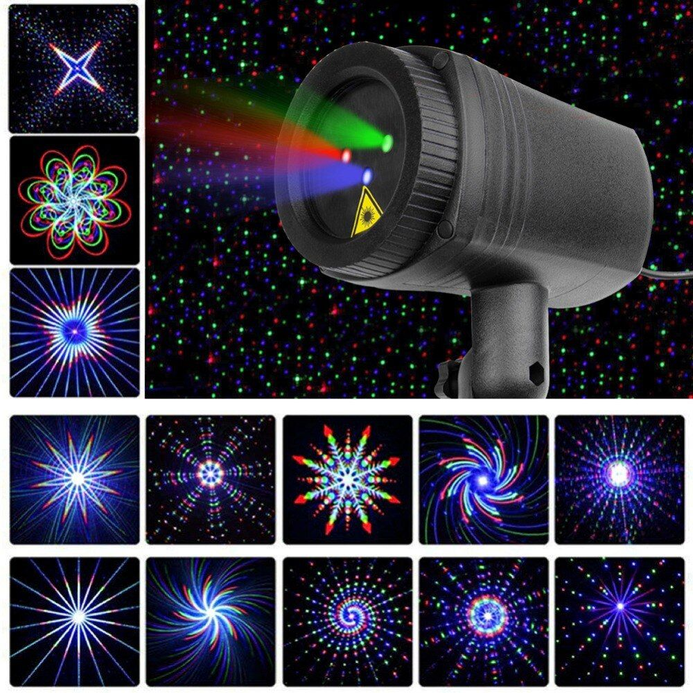 Christmas Stars laser light shower 24 Patterns projector effect Remote <font><b>moving</b></font> waterproof Outdoor Garden Xmas decorative lawn