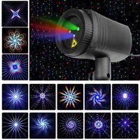Estrellas de Navidad luz láser ducha 24 patrones proyector efecto remoto movimiento impermeable al aire libre del Jardín de Navidad césped decorativo