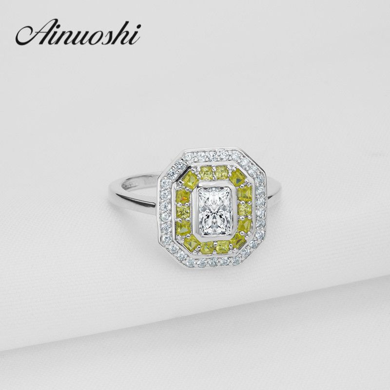 Luxury Square Yellow White Color Halo Ring Sona Princess Ring 925 Sterling Silver Plain Band Wedding Engagement Infinity  Rings