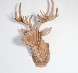 Europa Stil Holz 3D Deer Kopf Hängen Kunst Wanddekoration Burlywood DIY Montage Holz Handwerk Elch Kopf Home Wand Handwerk Decor