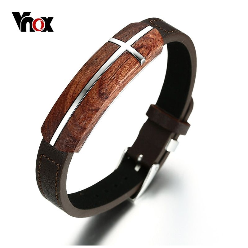 Vnox Retro Rosewood <font><b>Genuine</b></font> Leather Bracelet for Men Real Wood Wooden Top Quality Business Style