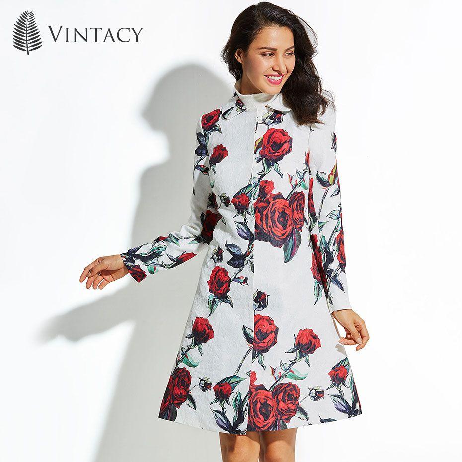 Vintacy 2017 Autumn Winter Long Coat Women Plus Size White Floral Print Red Rose Flower Outwear Jacquard Elegant Ladies Overcoat