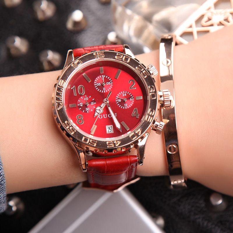 Fashion Women Calendar Rose Gold Quartz Watch Luxury Brand GUOU Six-pin Retro Big Dial Female Multifunction Waterproof Clock