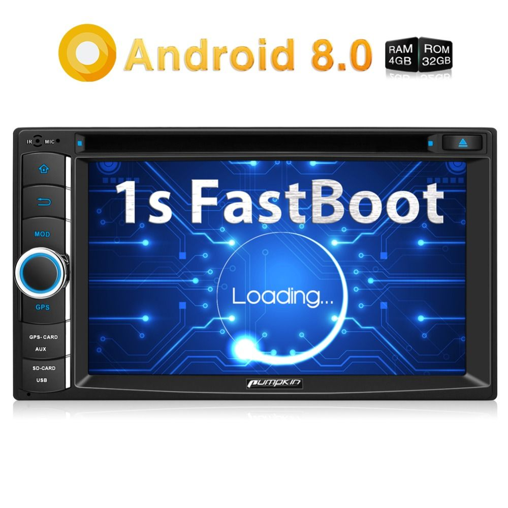 Kürbis 2 Din 6,2 ''Android 8,0 Universal Auto DVD Player Qcta-core GPS Navigation Auto Stereo Schnelle Boot Wifi FM Rds Radio Steuergerät