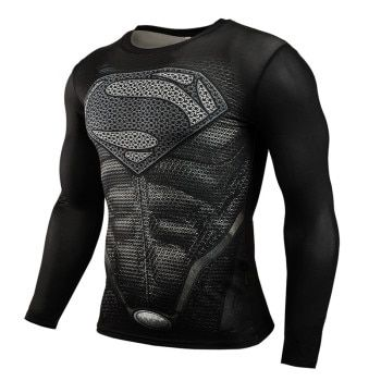 Hot Sale Fitness MMA Compression Shirt Men Anime Bodybuilding Long Sleeve Workout 3D Superman Punisher T Shirt Tops Tees