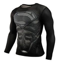 Venta caliente fitness MMA Compression shirt hombres anime bodybuilding manga larga CrossFit 3D Superman Punisher camiseta Tops Camisetas Tees