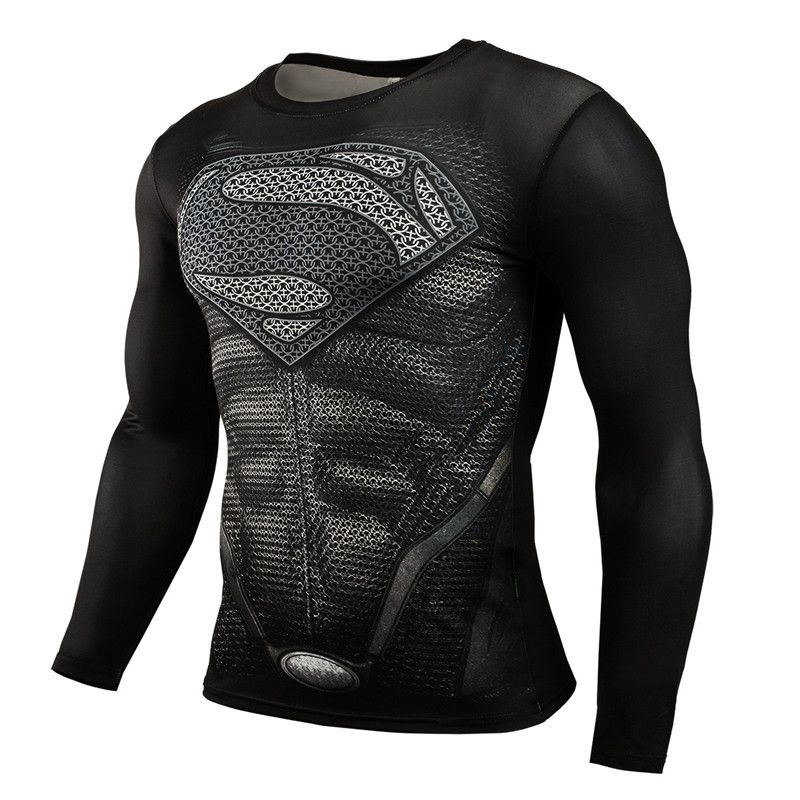Vente chaude Fitness MMA Compression Chemise Hommes Anime Musculation Manches Longues Crossfit 3D Superman Punisher T-shirt Hauts T-shirts