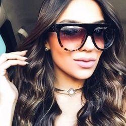 Flat top lunettes de soleil femmes grande Marque Lunettes de Soleil vintage Rétro TORTUE OMBRE femelle lunettes kim kardashian lunettes de soleil lunettes