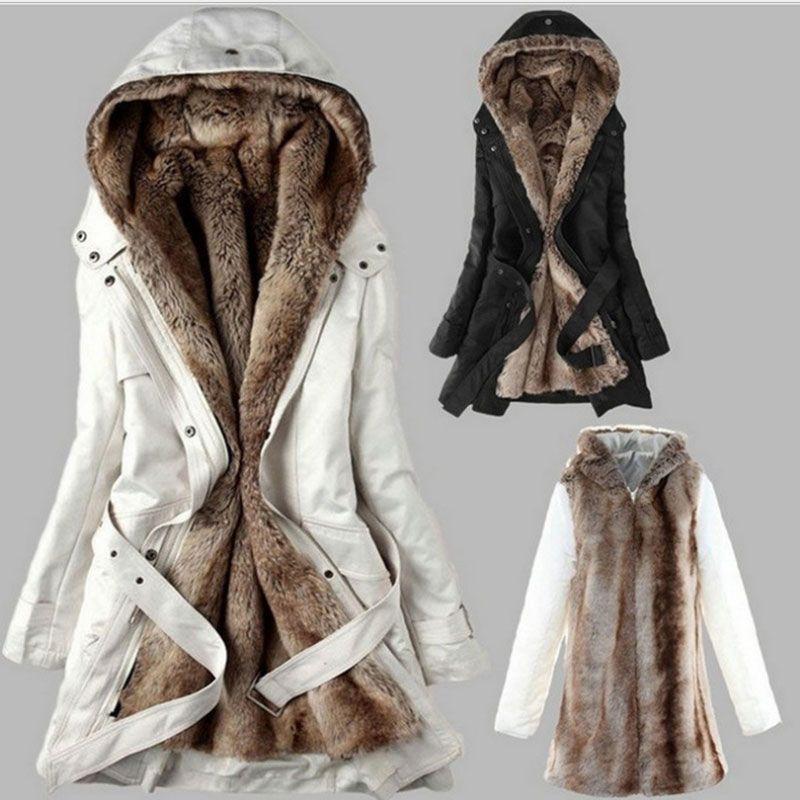 Winter Warm Women Black Hooded Faux Fur Coat Jacket Fashion Army Green Slim Liner Cotton Coat Dropshipping