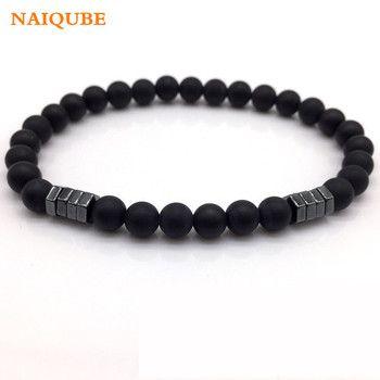 NAIQUBE 2018 New Fashion stone Bead Charm Bracelet Men Jewelry 6mm Matte Bead with Column Hematite Bracelet For Men Gift