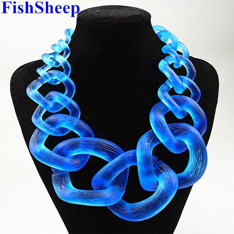 Bijoux de déclaration fishmouton grande chaîne Chunky acrylique collier ras du cou résine Vintage grand col Long grands pendentifs et colliers