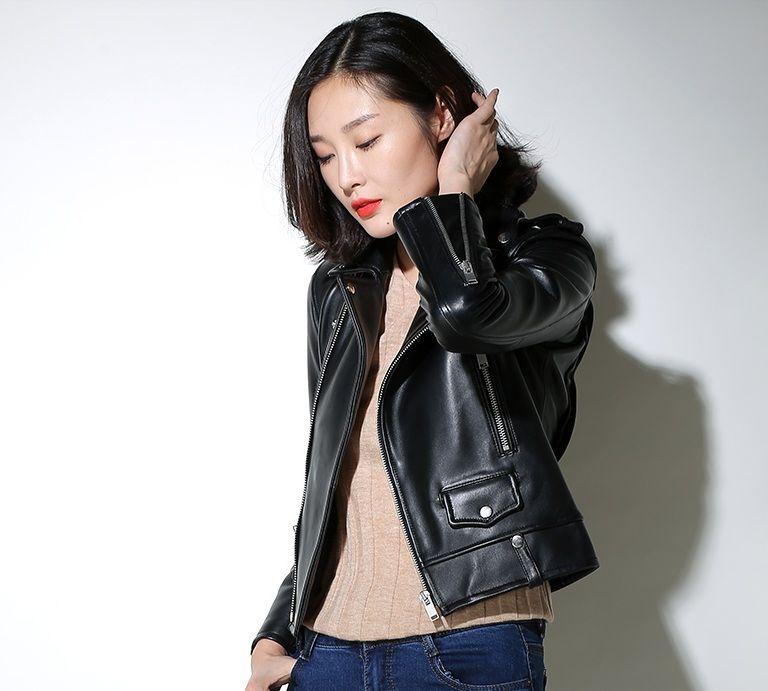 Бесплатная доставка, натуральная кожа женщина тонкий мех Куртки. Модные Motorbiker Азиатский женский размер овчины куртка брендовые замшевые