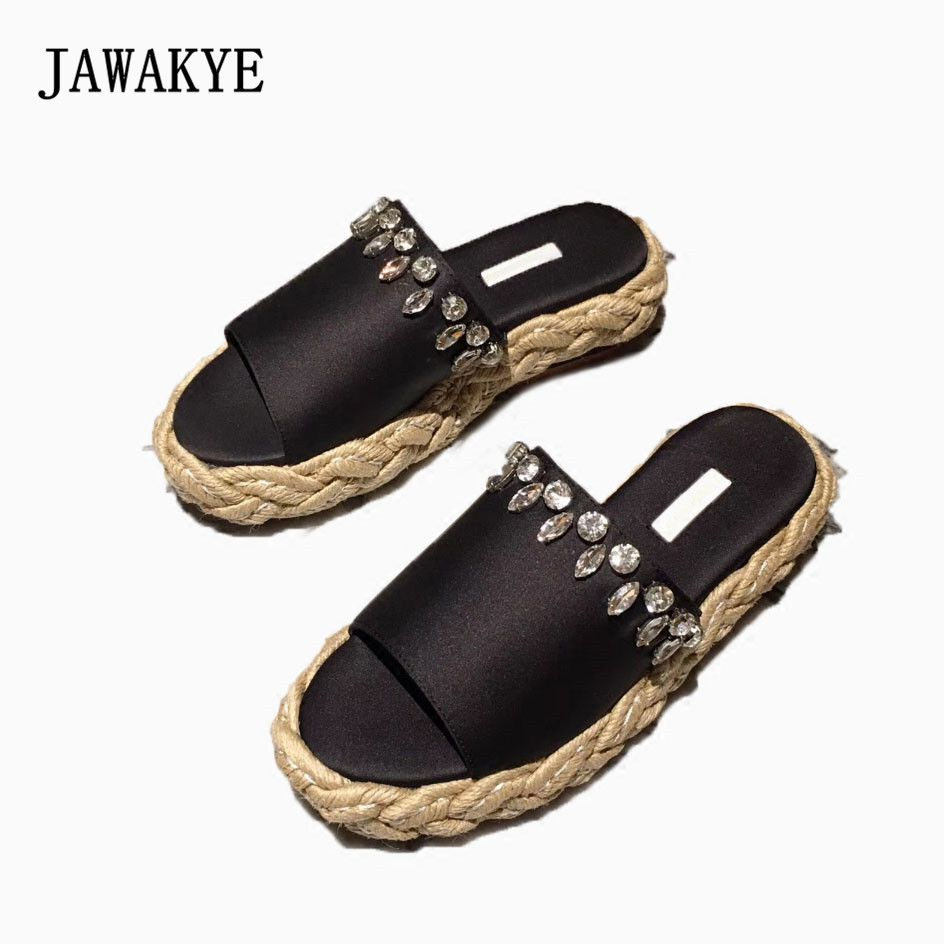 New Summer Peep Toe Silk Crystal Flat Platform Slippers Women jewel Bling ladies Thick Straw bottom Mules Outdoor Shoes Woman