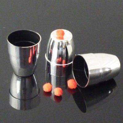 Plastic three cups three balls in silver color (Small)- trick, Free shipping, Fire magic Magic trick classic toys