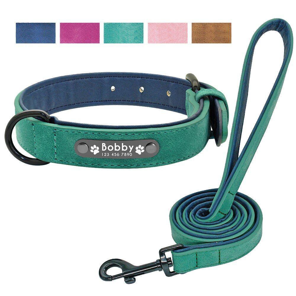 Personalized Dog Collar and Leash Leather Padded Customized Engraved Dogs Collars Lead Rope Set Bulldog Pitbull