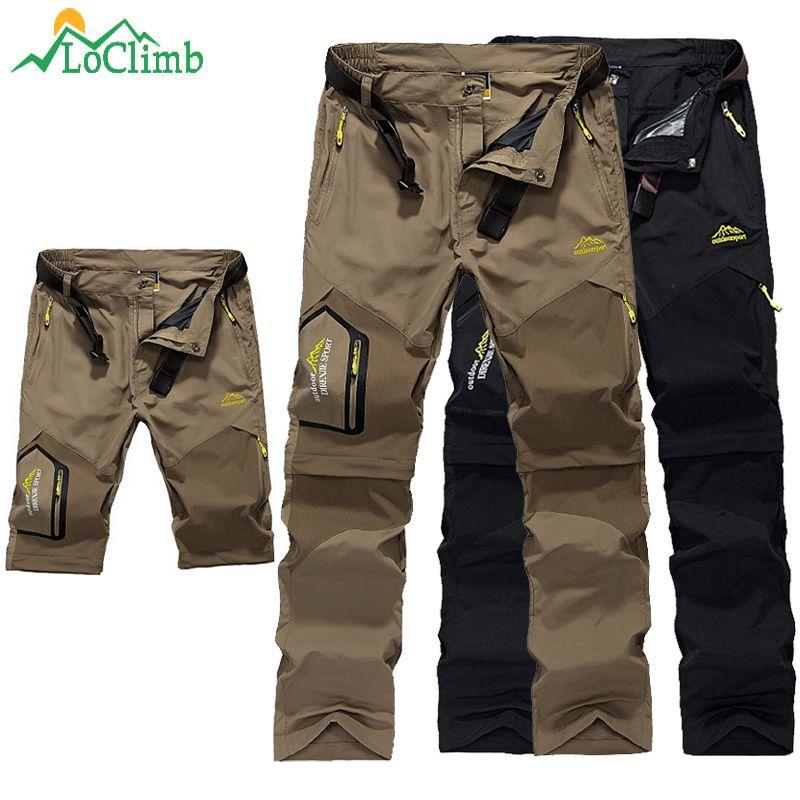 LoClimb pantalons de randonnée en plein air hommes pantalons d'escalade homme amovible pantalons de Trekking printemps/été Shorts à séchage rapide AM002