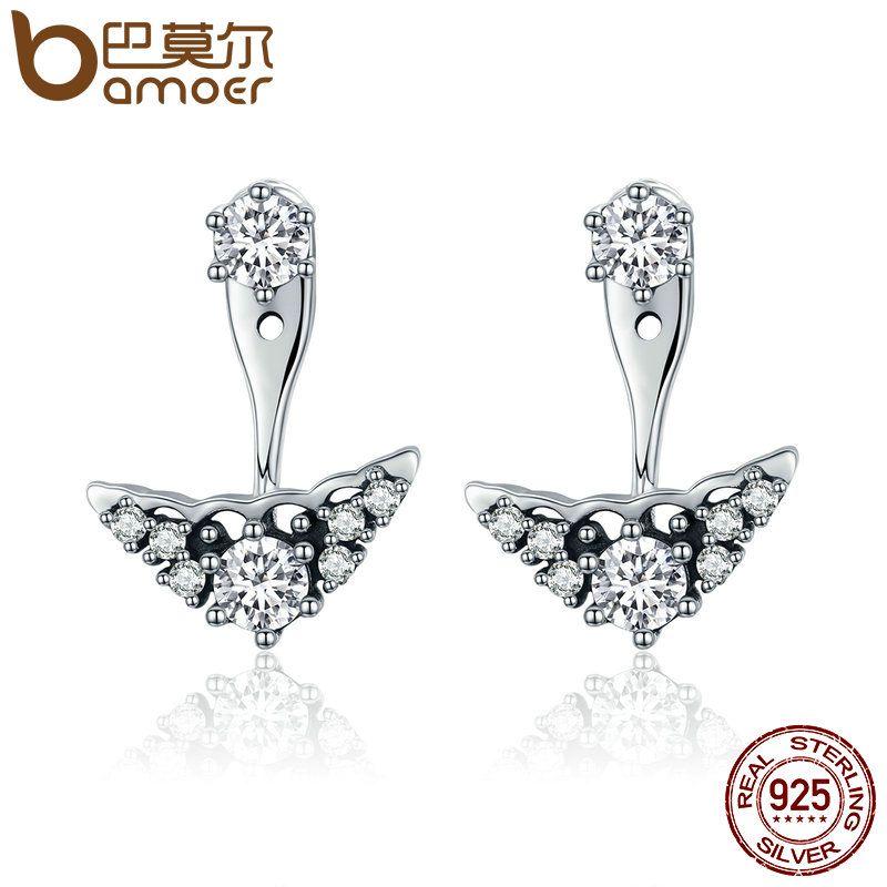 BAMOER Genuine 925 Sterling Silver Fairytale Tiara Stud Earrings, Clear CZ Earrings for Women Luxury Silver Jewelry Gift PAS518