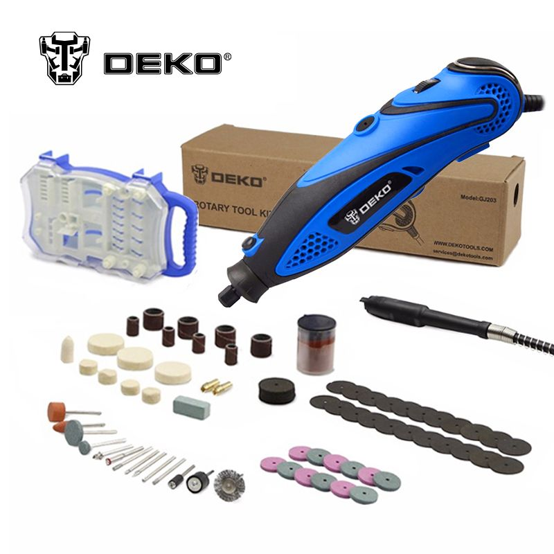 DEKO 220V 135W 32000rpm Variable Speed Rotary Tool Dremel Style Electric Mini Drill w/ Flexible Shaft & 2 Sets for Selection