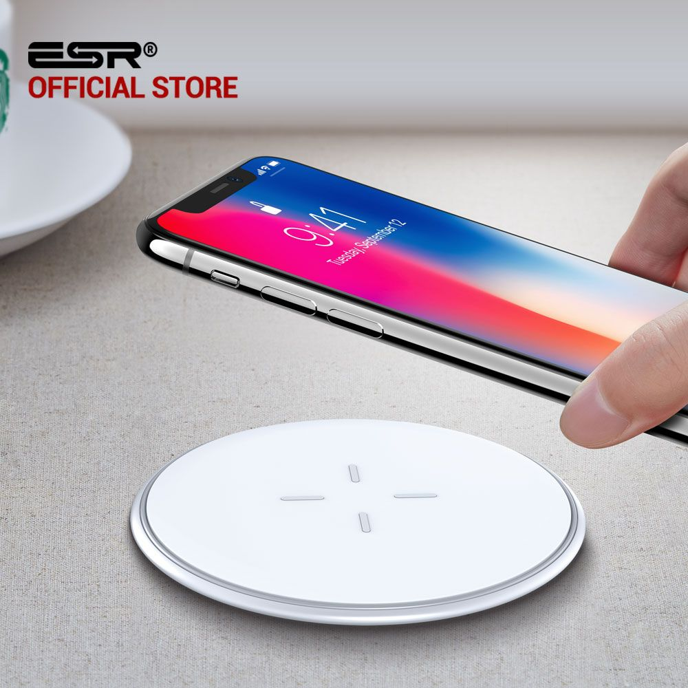QI Wireless Charger 10W for iPhone X 8 Plus Samsung Galaxy S7 S8 S9 Note, ESR Ultra Thin 5.5mm and Fast Wireless Charging Pad