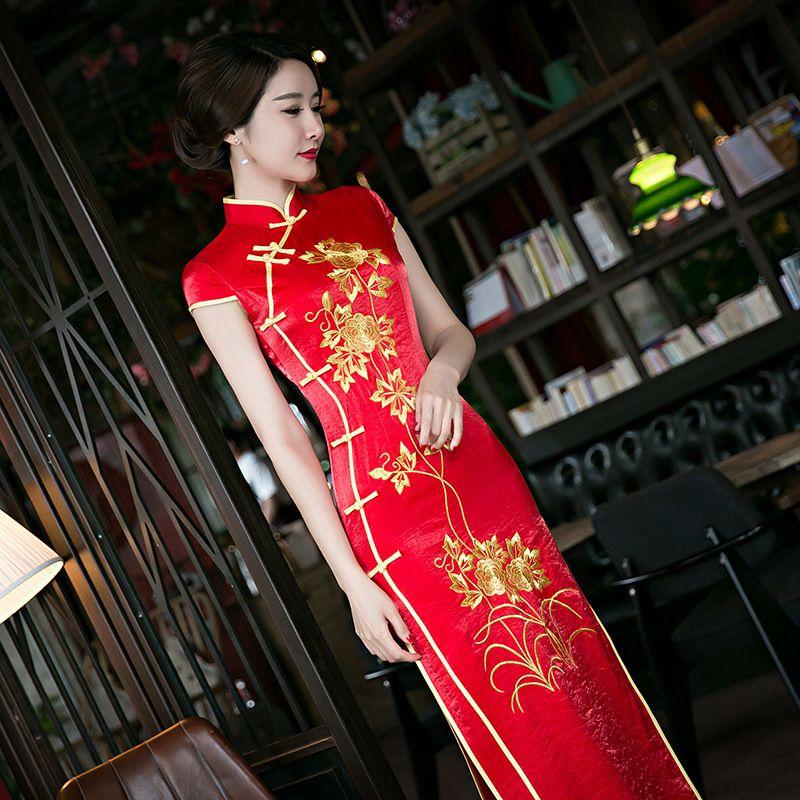 Las Mujeres de color rojo Chino Tradicional Qipao Vestido Chino Vestido de Boda Nupcial Rojo Largo Femenino Nacional Cheongsam Traje Del Vestido de Partido 89