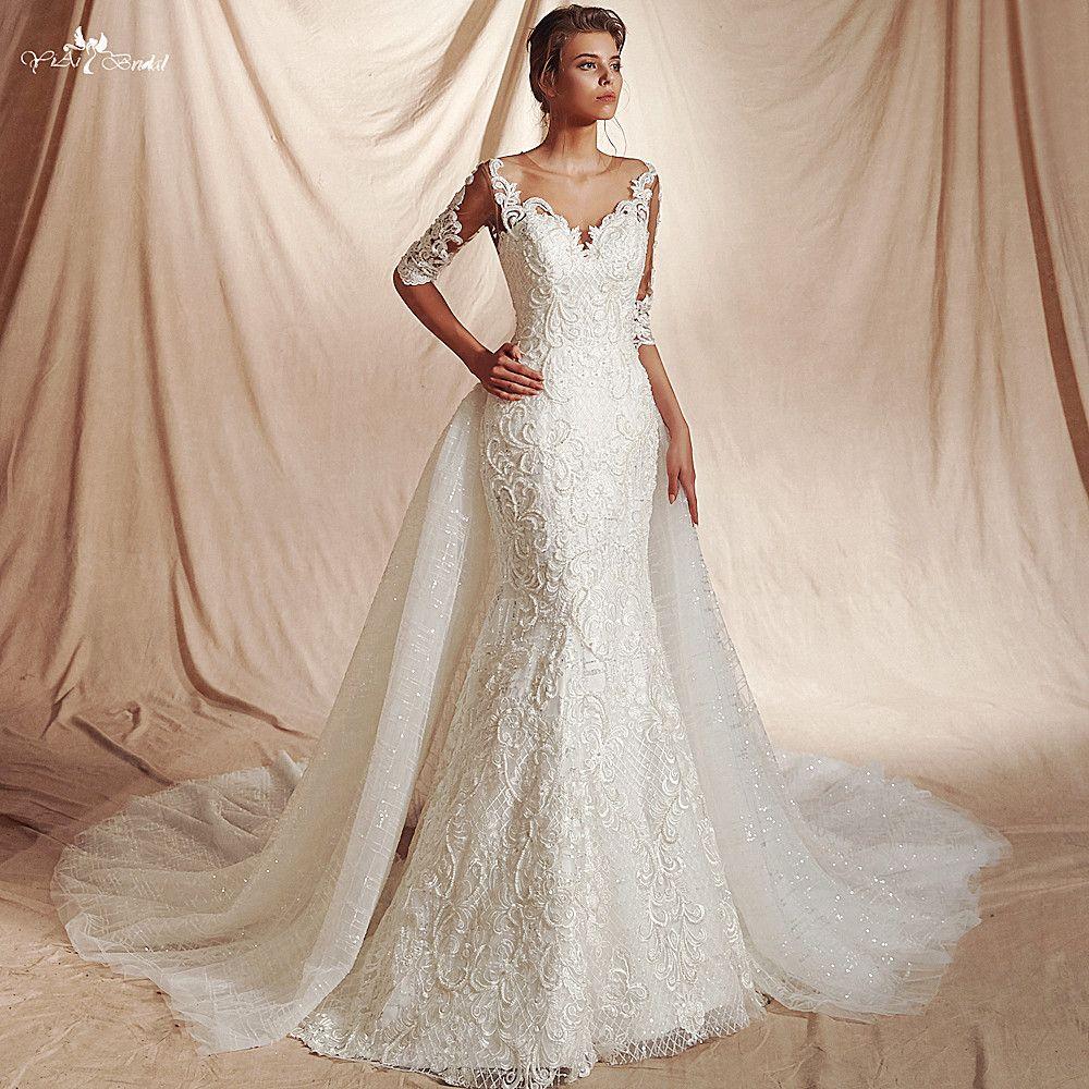 RSW1478 New Arrival Real Job Luxury Sequin Lattice Shine Glitters Fabric 3/4 Sleeves Mermaid Detachable Wedding Dress 2 in 1