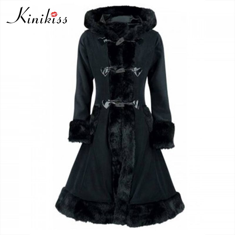 Kinikiss Vintage Coat <font><b>Trench</b></font> Black Fur Women Winter Overcoat Hooded Button Slim <font><b>Trench</b></font> Retro Outwear Tops Autumn Thick Coats