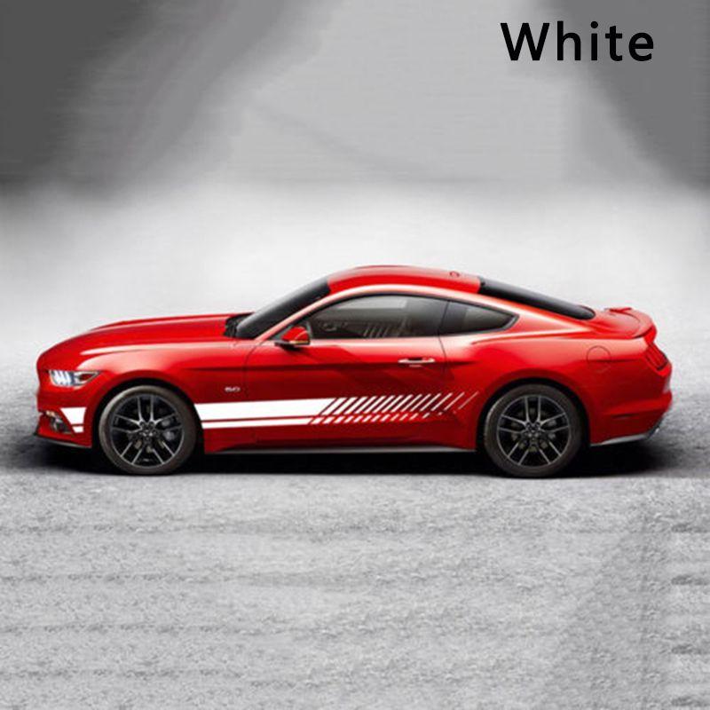 2 pièces Tuning voiture autocollants sport course rayure graphique autocollants étanche Auto-adhésif carrosserie côté porte vinyle décalque style
