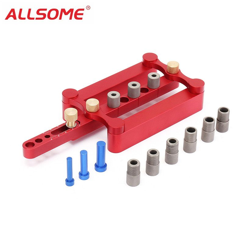 ALLSOME Self Centering Dowelling Jig Metric Dowel 6/8/10mm Drilling Tools for Wood Working Woodworking Joinery Punch Locator