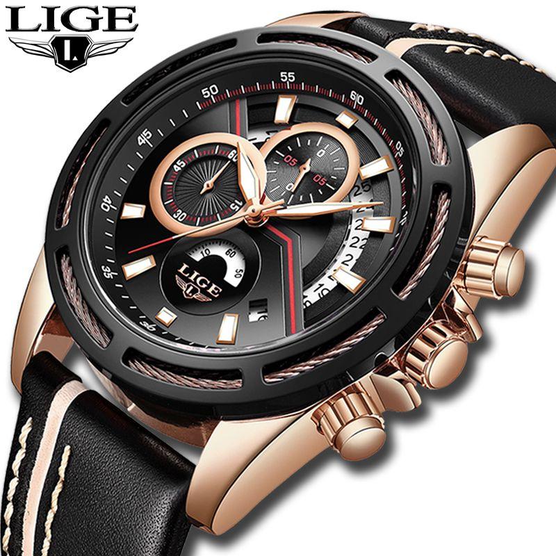 LIGE Mode Top Luxus Marke Uhr männer Casual Gold Quarzuhr Männer Leder Militärische Wasserdichte Sport Uhr Relogio Masculino