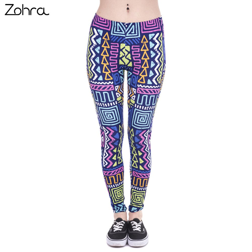 Zohra Autumn Winter New Leggings African Zig Zag Purple Printing Fitness legging Sexy Silm High Waist Trouser Women Pants