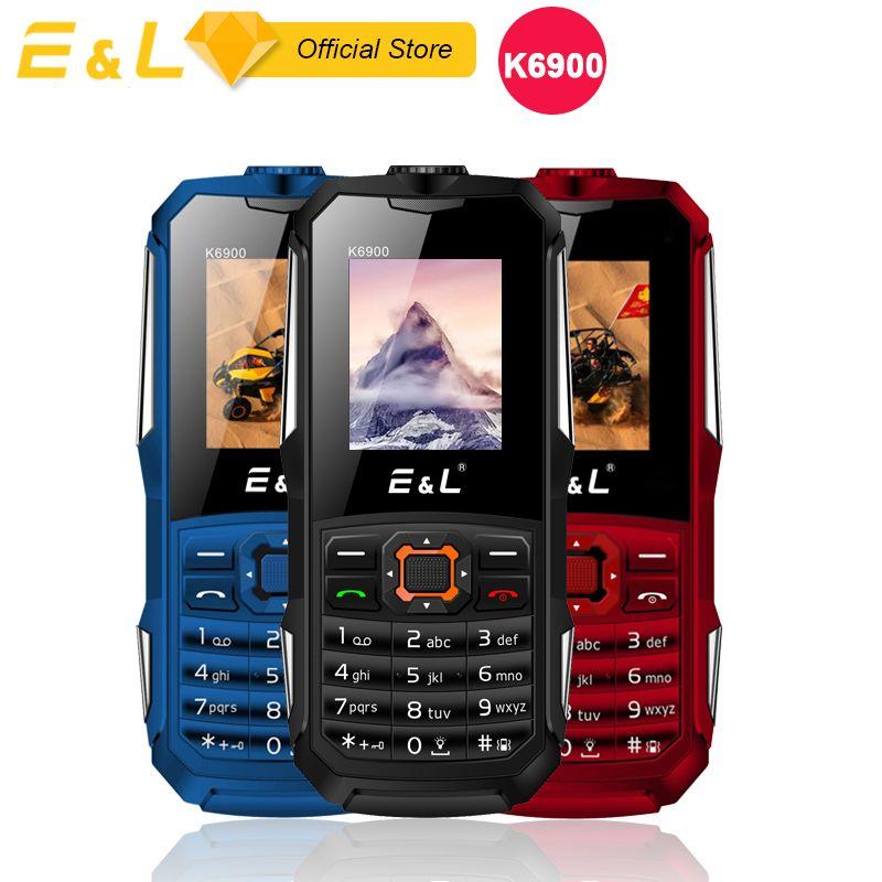 Vieil Homme Débloqué Mobile Téléphone E & L K6900 Clavier Fonction Téléphone IP68 Étanche Antichoc FM Grand lampe de Poche Push- bouton 2g GSM