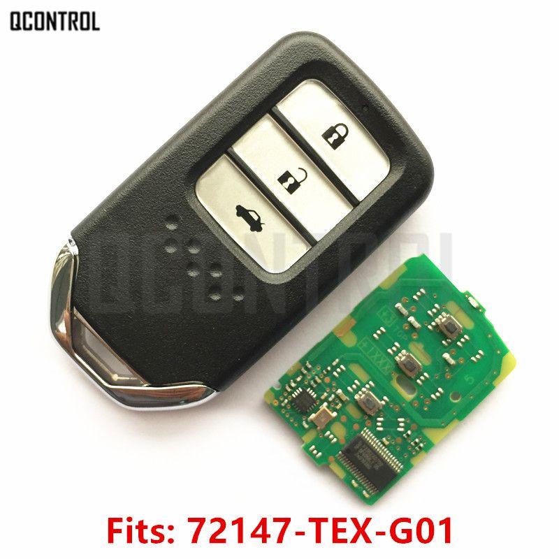 QCONTROL Car Remote Smart Key Fit for Honda 72147-TEX-G01 City Jazz XRV Venzel HRV CRV Accord Civic Element Control Alarm