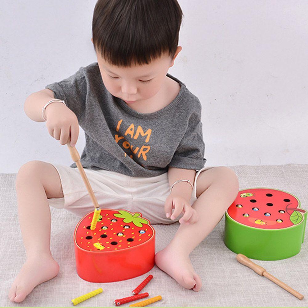 Puzzle 3D bébé jouets en bois jouets éducatifs de la petite enfance attraper ver jeu couleur Cognitive fraise saisir la capacité drôle