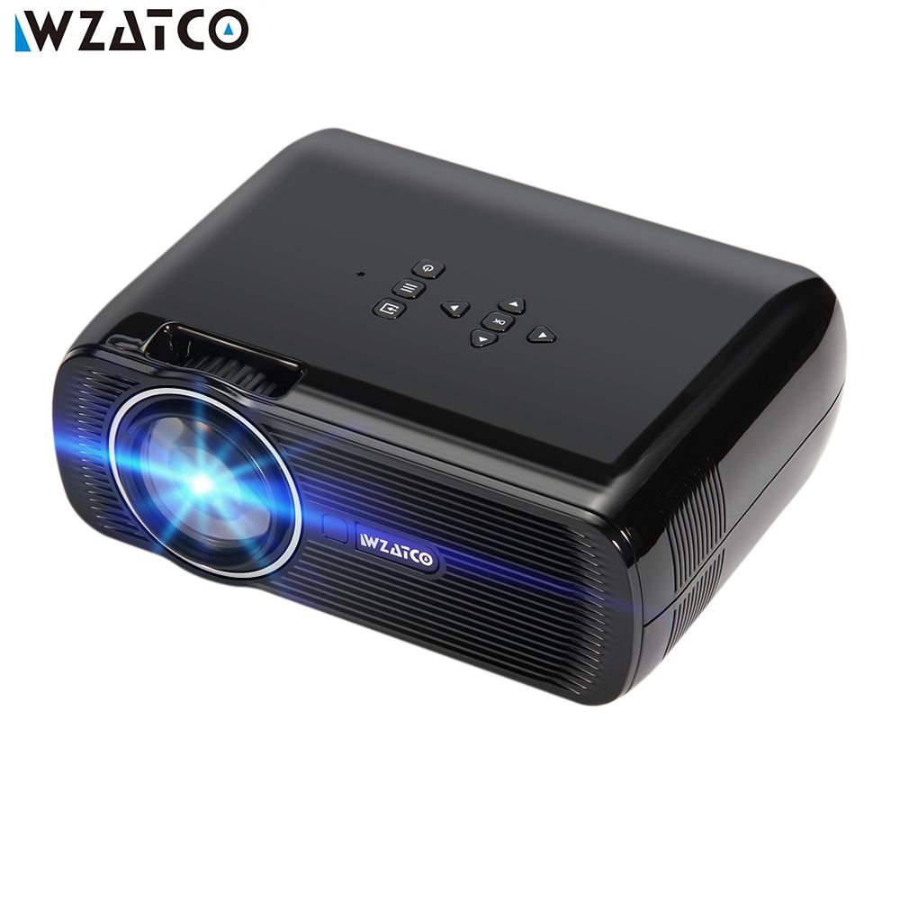 WZATCO Projecteur CTL80 1800lu Portable Mini Full HD 1080 P LED 3D Projecteur Android 6.0 Wifi Smart Home Cinéma Beamer Proyector