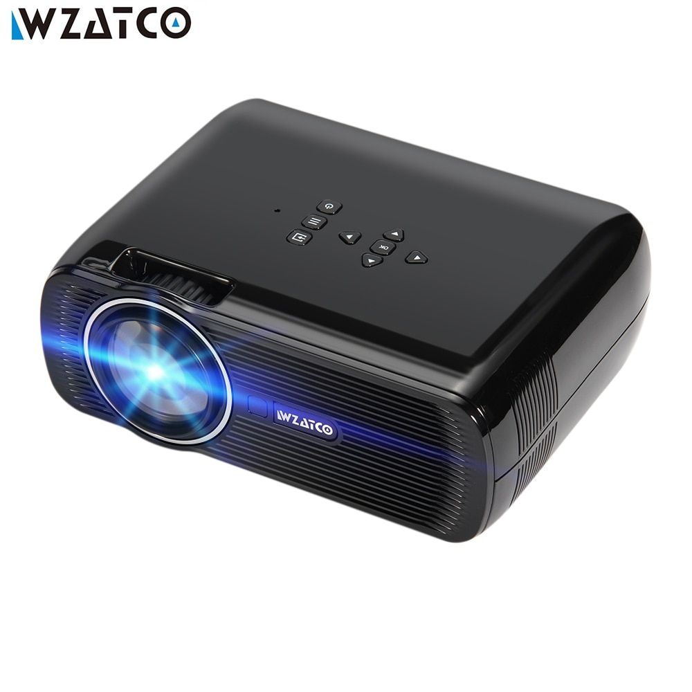 WZATCO Projector CTL80 1800lu Portable Mini Full HD 1080P LED 3D Projector Android 6.0 Wifi Smart Home Theater Beamer Proyector