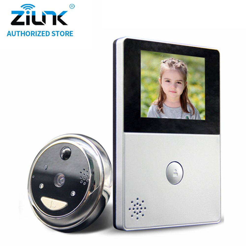 ZILNK HD Battery Peephole WiFi Doorbell Cloud Storage PIR Night Vision Video Intercom Cateye Support TF Card 2 Way Audio Silver