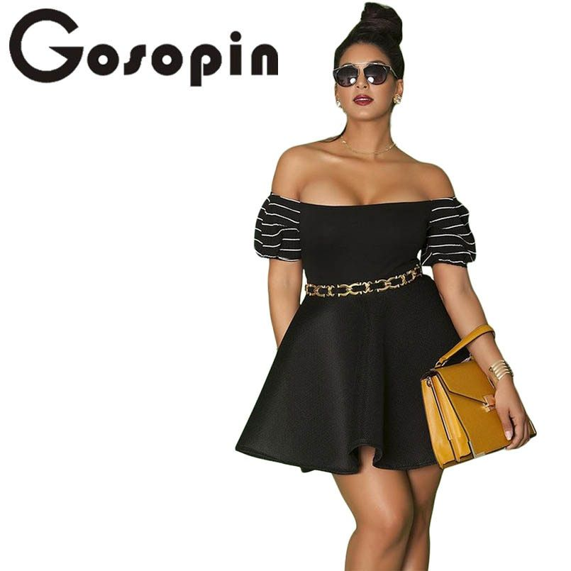 Gosopin Plus Size Skater Dresses Off Shoulder Pleated Mini Sexy Summer Dress Black Big Size Party Dress 4XL 2018 Vestido 220411