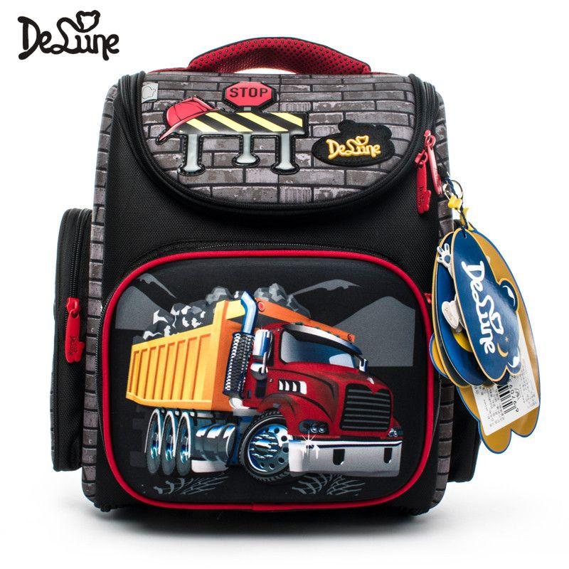 Delune Brand Primary Grade 1-3 Kids 3D Cartoon School bags Children Orthopedic Ergonomic Design School Backpack Boys School Bags