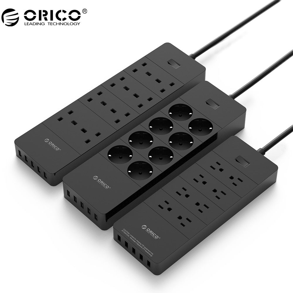 ORICO Power Strip Socket 8 Outlet With 5 USB Standard Extension Surge Protector Power Strip 5x2.4A USB Charger Ports HPC-V1