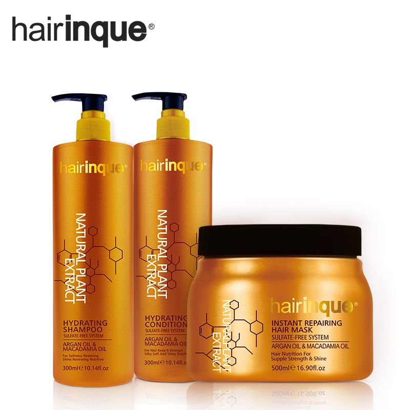 HAIRINQUE sulfate free system hair care set hair shampoo and hair conditioner and hair mask with argan oil and Macadamia nut oil